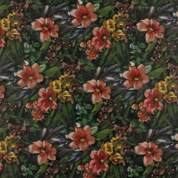 Kunstleder | Wildleder | floral | schwarz