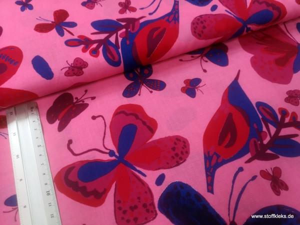Baumwolle | bedruckt | Schmetterling | pink
