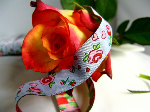 Webband   bed of roses blau