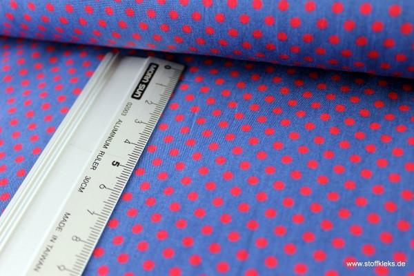 Baumwolle | bedruckt | 3mm Punkte | jeansblau/rot