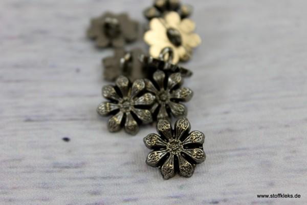 5 Knöpfe   Blume   Antiksilber   1,2 cm