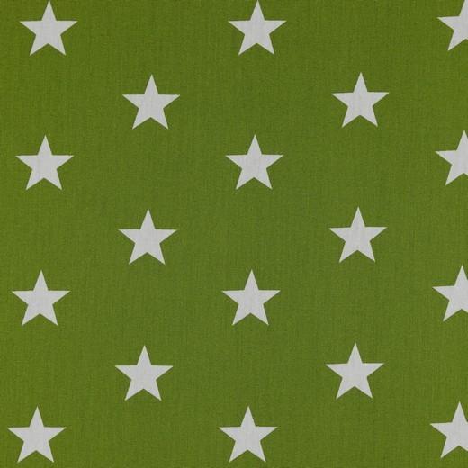 Baumwolle   bedruckt   3cm Sterne   grün / weiss