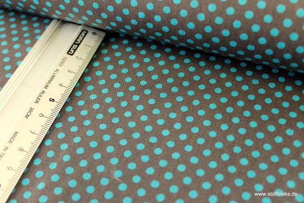 Baumwolle | bedruckt | 3mm Punkte | grüngrau/türkis