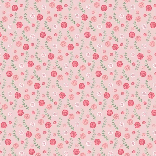 Baumwolle | bedruckt | BALLERINA SWAN AND ROSES | rosa