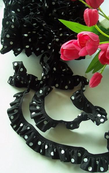 Rüschenband | Elastisch | 25mm | Punkte | schwarz/weiß