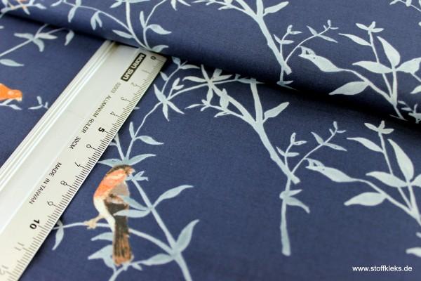 Baumwolle | bedruckt | Robert Kaufman | design #15841 Woodland Clearing | nachtblau