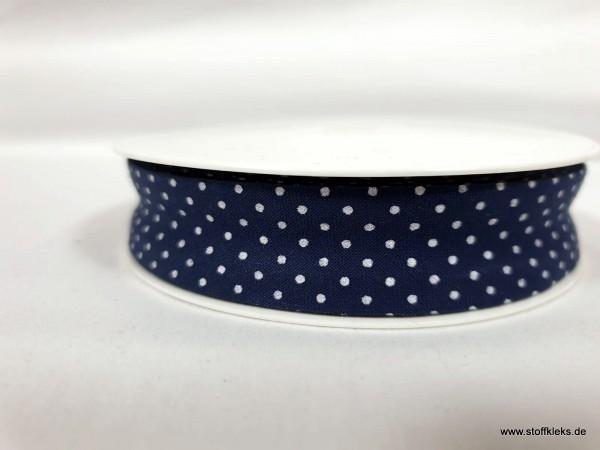 Schrägband/Einfassband | 20mm | Baumwolle | Pünktchen dunkelblau/weiss | 3m