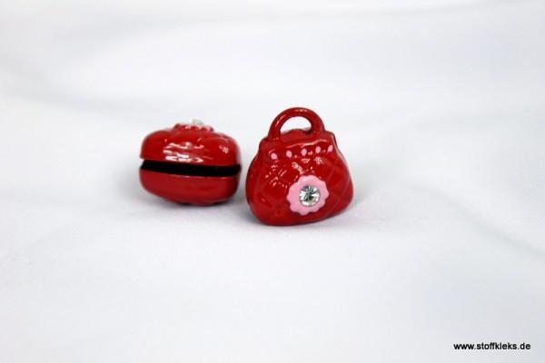 Glöckchen | Handtäschchen | rot mit Glitzerstein