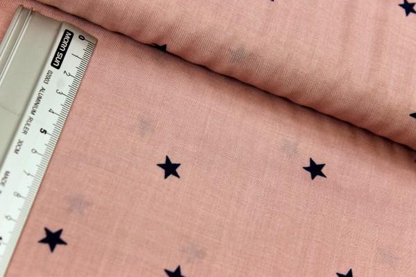 Viskose | bedruckt | Sternchen dunkelblau | 1cm | altrosa