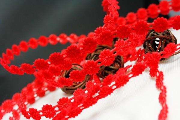 Blumenborte aufbügelbar | rot
