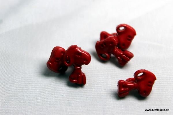 5 Knöpfe | Kunststoff | Snoopy rot | Öse | 1,3 x 0,9 cm