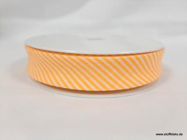 Schrägband/Einfassband | 20mm | Baumwolle | Streifen gelb/weiss | 20m