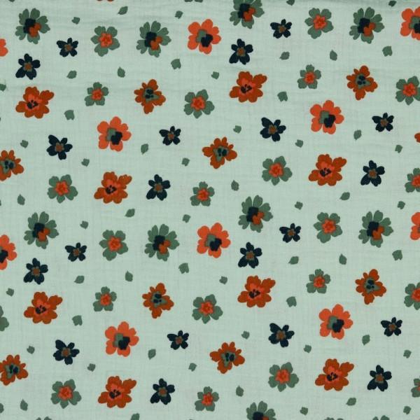 Baumwolle   double gauze/Musselin   bunte Blüten   helles mint