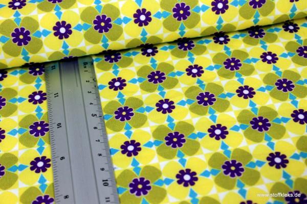 Baumwolle | bedruckt | quadratische Blumen | gelb/grün
