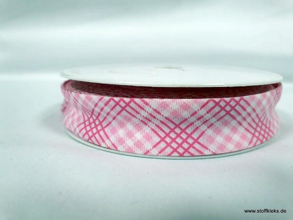 Schrägband/Einfassband | 20mm | Baumwolle | Karo pink | 3m