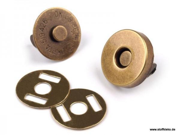5 Magnetverschlüsse | Ø15 mm | altmessing