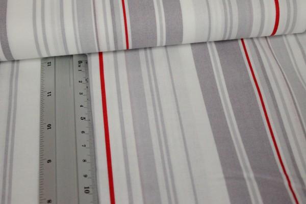 Baumwolle | bedruckt | graue Streifen | grau-weiß