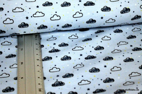 Jersey | bedruckt | cloudy | hellblau