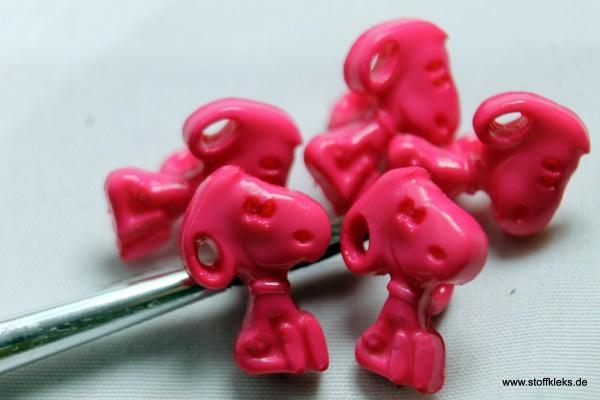 5 Knöpfe | Kunststoff | Snoopy rosa | Öse | 1,3 x 0,9 cm
