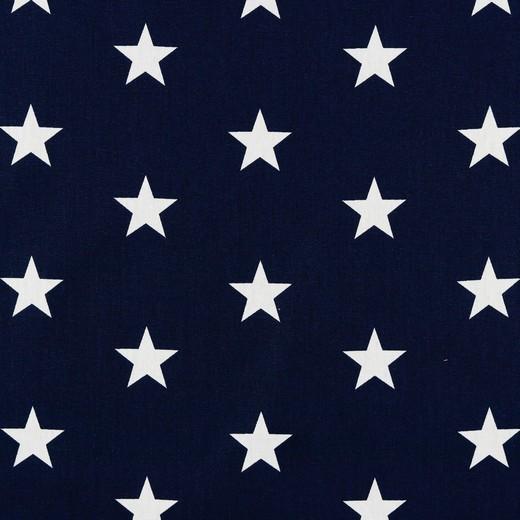 Baumwolle | bedruckt | 3cm Sterne | dunkelblau/weiss