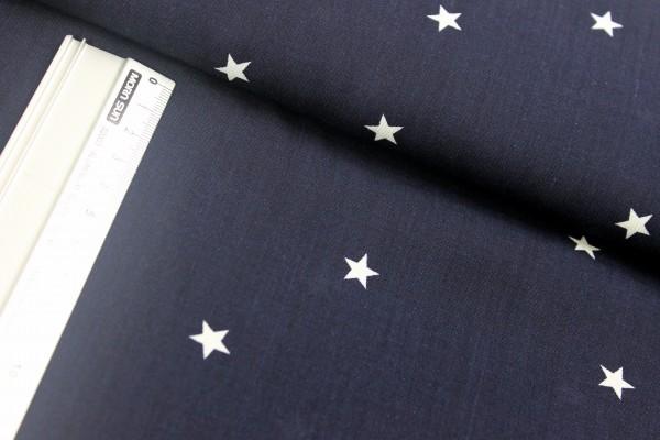 Viskose   bedruckt   Sternchen weiss   1cm   nachtblau