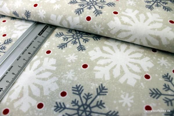 Baumwolle | bedruckt | Wilmington Prints | All Bundled Up | Schneeflocken | creme