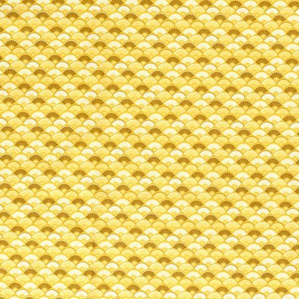 Baumwolle | bedruckt | Fächer | senf