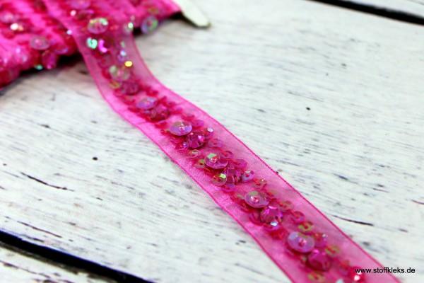 Organzaborte | Pailletten | pink | 2,5 cm