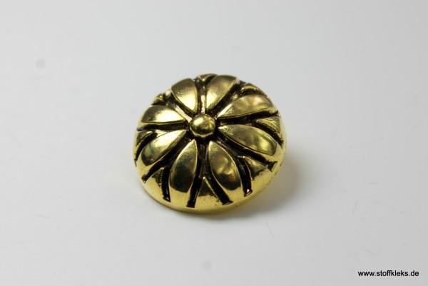 Knopf   Kunststoff   golden flower   2,2 cm