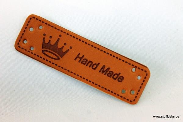 Label | Applikation | Lederimitat | 5x Krone handmade