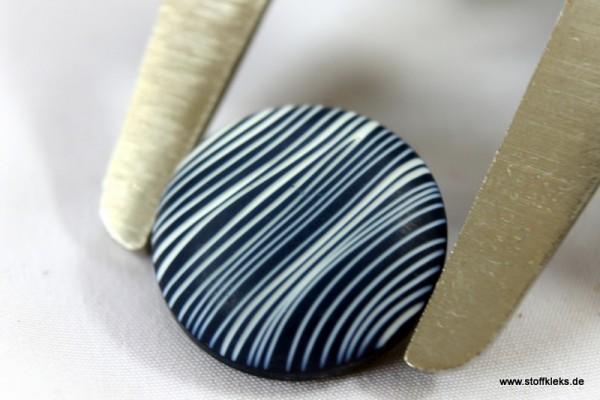 Knopf | Kunststoff | Streifen | Ösen | weiss/blau