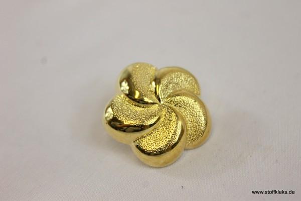 Knopf | Kunststoff | goldene gedrehte Blume | Öse | 2,2 cm