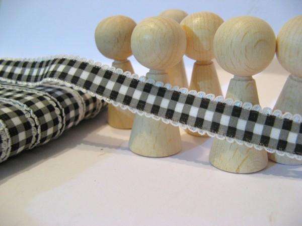 Gummiband | mit Spitze | 15mm | Karo | schwarz/weiß