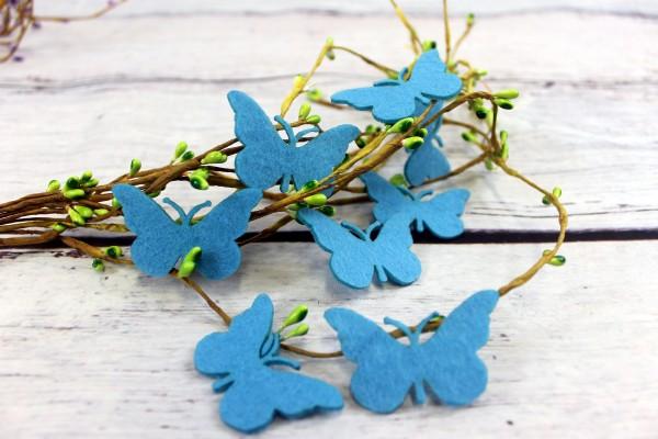 Filzapplikation | Schmetterling | hellblau | 5cm