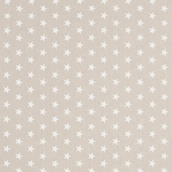 Leinenlook | bedruckt | Sterne | weiss