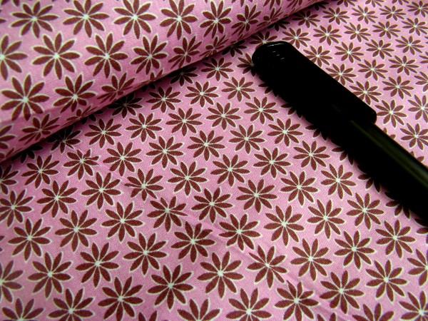 Baumwolle | bedruckt | Flower Power | altrosa/aubergine