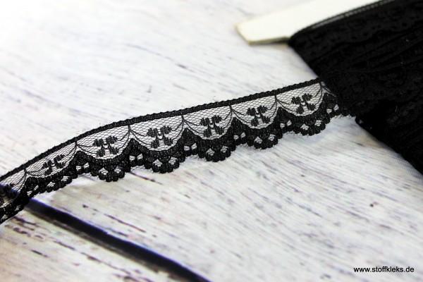Spitzenborte | elastisch | 2 cm | schwarz