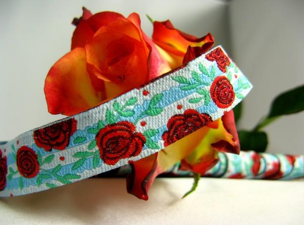 Webband | Rose türkis/rot