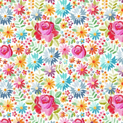 Baumwolle | bedruckt | DIGITAL | emboidery flowers | weiss