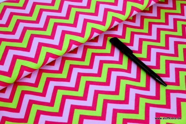 Jersey | bedruckt | Zickzack | pink/grün