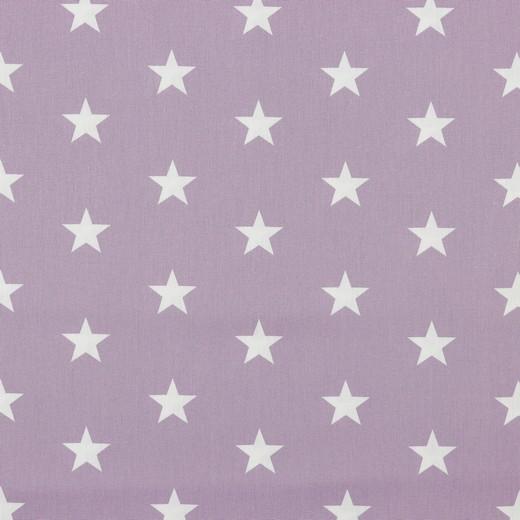 Baumwolle | bedruckt | 3cm Sterne | hell lila / weiss
