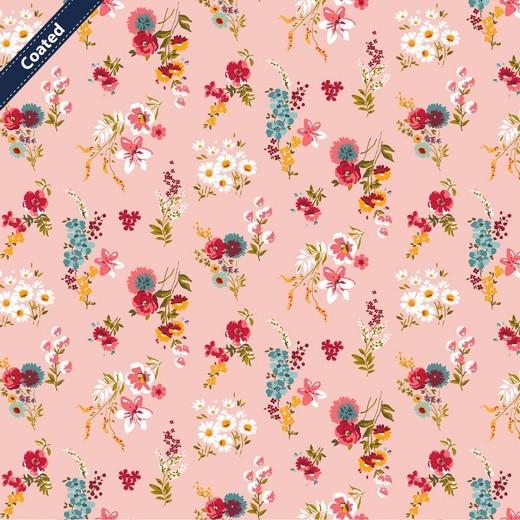 beschichtete Baumwolle / Wachstuchstück | FLOWERY | rosa