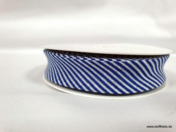 Schrägband/Einfassband | 20mm | Baumwolle | Streifen blau/weiss | 20m