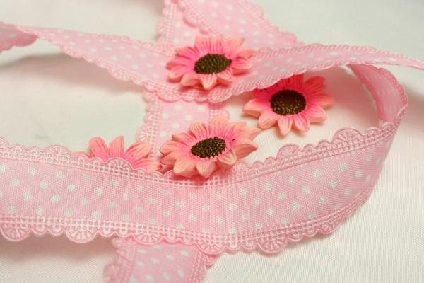 Satinband mit Bordüre | bedruckt |rosa/weiss