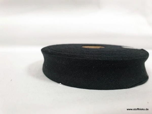 Schrägband/Einfassband | 20mm | Baumwolle | schwarz | 20m