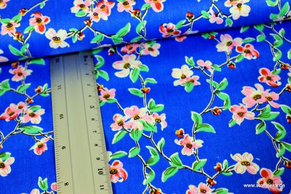 Baumwolle | bedruckt | Blumenzweige | blau