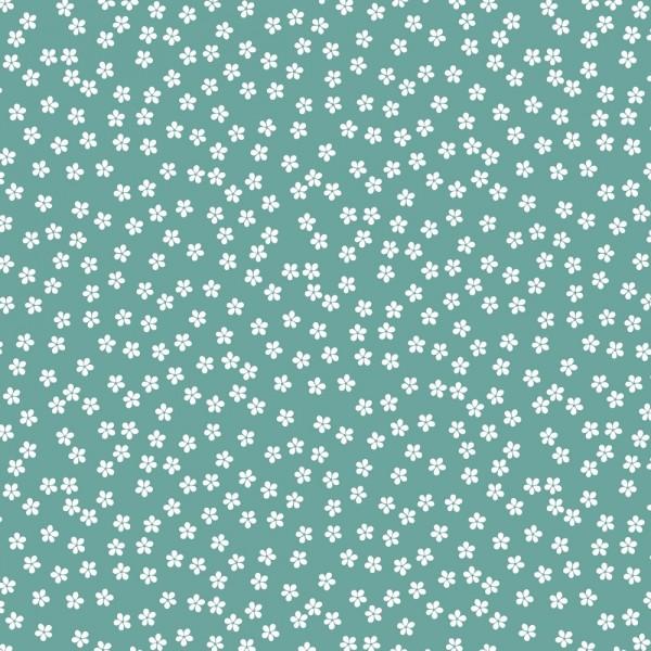 Baumwolle | bedruckt | Blumen | frischer Salbei