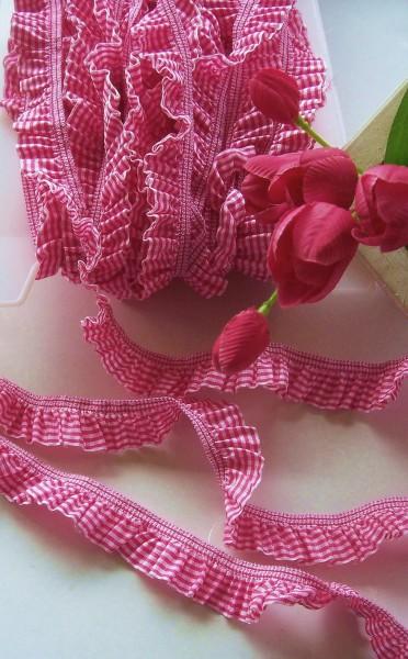 Rüschenband | Elastisch | 25mm | Vichy | pink/weiß