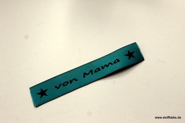 Applikation | Label | von Mama | petrol mit braun | 1,5 cm