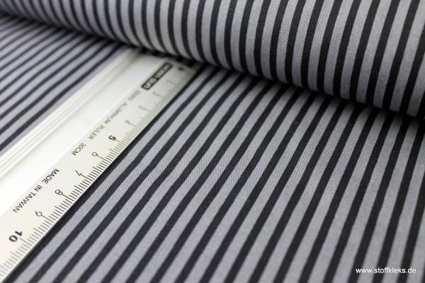 Baumwolle | bedruckt | long stripes | schwarz/mausgrau